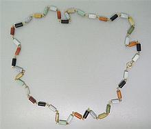 14K Gold Multi Color Nephrite Jade Necklace