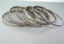 Sterling Native American  Bangle Bracelet Set of 10