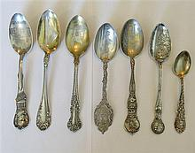 Sterling Souvenir Indian Spoon Lot of 7