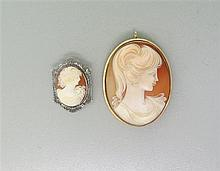 18K Gold Silver Cameo Brooch Pendant Lot of 2