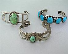 Native American Sterling Turquoise Cuff Lot of 3