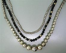 Sterling Onyx Bead Necklace Lot of 3