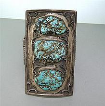 Massive Native American Sterling Turquoise Bracelet