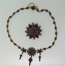 Bohemian Garnet Jewelry Necklace Brooch Lot of 2