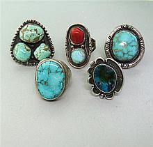 Native American Sterling Gemstone Ring Lot of 5