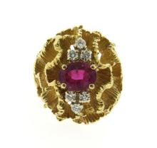 1970s 14K Gold Ruby Diamond Pencil Shaving Dome Ring