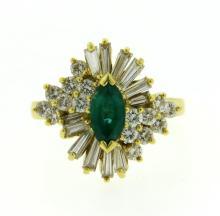 18K Gold Emerald 1.00ctw Diamond Cluster Ring