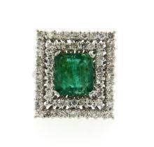 18k Gold Emerald Diamond Cocktail Ring