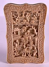 A MID 19TH CENTURY CHINESE CANTON IVORY CARD CASE AND COVER decorated with figures in various pursuits, within  floral banding. 2.75ins x 4.75ins.