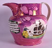 A MID 19TH CENTURY SUNDERLAND LUSTRE JUG decorated with mottos and figures. 10Ins wide.