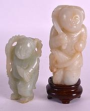 A GOOD 19TH CENTURY CHINESE CARVED PALE JADE FIGURE OF A BOY together with another similar jade figure. 3.5ins & 2.75ins high. (2)
