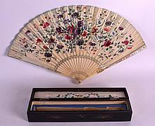 A FINE 19TH CENTURY CARVED IVORY FAN opening to reveal a well carved ivory panel of a figure, the fan itself painted with classical European scenes. 1Ft 7ins wide.