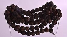 AN EARLY 20TH CENTURY CARVED INDIAN NUT NECKLACE comprising of several naturalistic beads. 4Ft 2ins long.
