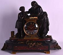 A GOOD 19TH CENTURY FRENCH BRONZE FIGURAL MANTEL CLOCK formed as a scholar and child reading from a book. 1Ft 5.5ins wide.