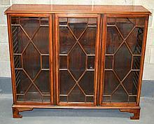 A MID 19TH CENTURY MAHOGANY BOOKCASE with triple glazed doors.