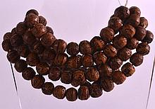 AN EARLY 20TH CENTURY CARVED WOOD NECKLACE of unusual form with naturalistic decoration. 4Ft 4ins long overall.