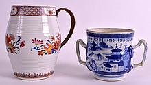 AN 18TH CENTURY CHINESE EXPORT TANKARD Qianlong, together with a twin handled export porringer. 6.25ins & 4ins high. (2)