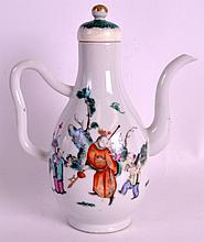 AN UNUSUAL 19TH CENTURY CHINESE FAMILLE ROSE EWER painted with figures within a landscape. 8.75ins high.