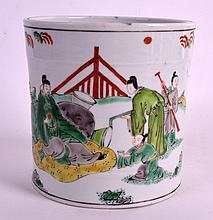 A 19TH CENTURY CHINESE FAMILLE VERTE PORCELAIN BRUSH POT Kangxi style, painted with figures in various pursuits. 5.75ins high.