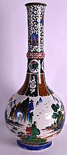 AN 18TH/19TH CENTURY JAPANESE EDO PERIOD AO KUTANI VASE painted with landscapes and figures. 2Ft 1ins high.