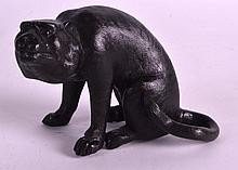 A 19TH CENTURY JAPANESE MEIJI PERIOD BRONZE FIGURE OF A WILD CAT well modelled resting upon its front legs. 4Ins wide.