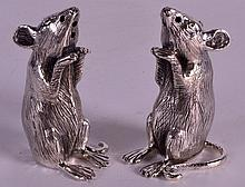 A PAIR OF STERLING SILVER NOVELTY CONDIMENTS modelled as mice. 2.25ins high.