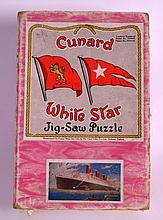 A VINTAGE CUNARD WHITE STAR LINE JIG SAW PUZZLE.