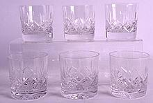 A SET OF SIX CUT CRYSTAL WHISKEY GLASSES. (6)