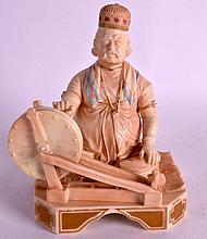 A RARE LATE 19TH CENTURY WORCESTER FIGURE OF SHABAN the gold brocade maker from the Indian Craftsman series. 6Ins high.
