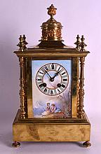 A 19TH CENTURY FRENCH PORCELAIN AND BRONZE MANTEL CLOCK of architectural form, painted with lovers within a landscape. 1Ft 3.5ins high.