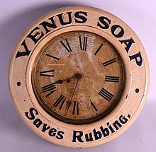 A VERY RARE BAIRD CLOCK AMERICAN ADVERTISING CLOCK Venus Soap Saves Rubbing. 1Ft 6ins diameter. Note: Very few gallery clocks were produced by Baird, See page 133 'Baird Advertising Clocks'.