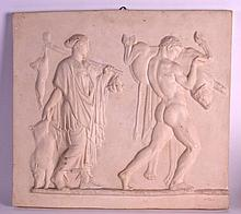 A LARGE CLASSICAL PLASTER WALL PLAQUE depicting figures in relief. 1Ft 10ins x 1ft 8ins.