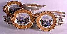 A GOOD MID 19TH CENTURY PRATTWARE DESSERT SERVICE all decorated with rural scenes, comprising of 19 x plates, 1 x high tazza, 3 x comports & 7 x twin handled dishes. (30)