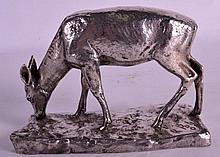 AN EARLY 20TH CENTURY WMF SILVER PLATED MODEL OF A FAWN. 5.5ins wide.
