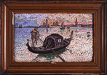 A MID 19TH CENTURY ITALIAN MICRO MOSAIC FRAMED PANEL depicting a Venetian scene of a gondola. Image 7.25ins x 5.25ins.