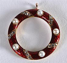 A HIGH CARAT DIAMOND ENAMEL AND PEARL BROOCH.