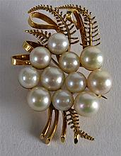 AN 18CT YELLOW GOLD AND MULTI PEARL CLUSTER BROOCH