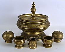 A 19TH CENTURY INDIAN BRONZE BOWL AND COVER engrav