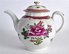 AN 18TH CENTURY LIVERPOOL TEAPOT AND COVER painted