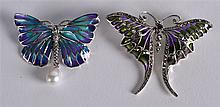 TWO SILVER AND ENAMEL BUG BROOCHES & PENDANTS. (2)
