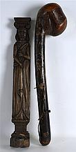 A 19TH/20TH CENTURY CARVED AND LACQUERED CLUB toge