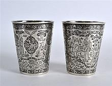 A FINE PAIR OF EARLY 19TH CENTURY INDIAN SILVER BE