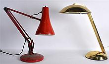 A RETRO 1950S HEAVY BRASS TABLE LAMP together with