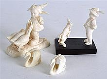 AN EARLY 20TH CENTURY EUROPEAN CARVED IVORY FIGURA