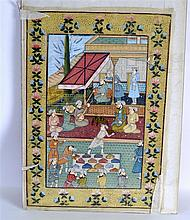 A 19TH CENTURY INDIAN FRAMED PAINTED SILKWORK TYPE