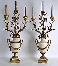 A SUPERB PAIR OF 19TH CENTURY FRENCH ORMOLU AND WH