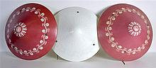 A SET OF THREE ART DECO GLASS LAMPSHADES with scro