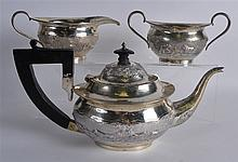 A LATE 19TH CENTURY INDIAN SILVER THREE PIECE TEAS