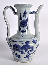 A CHINESE BLUE AND WHITE PORCELAIN WINE EWER Yuan