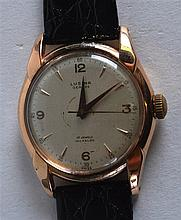 A VINTAGE 18CT YELLOW GOLD LUSINA SWISS GENTLEMANS